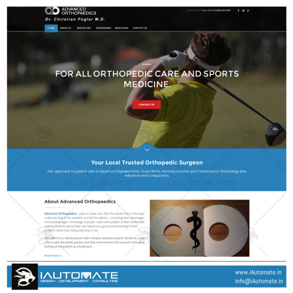 Advanced Orthopaedics-Dr Foglar website development
