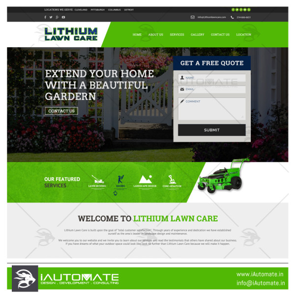 Lithium Lawncare website design