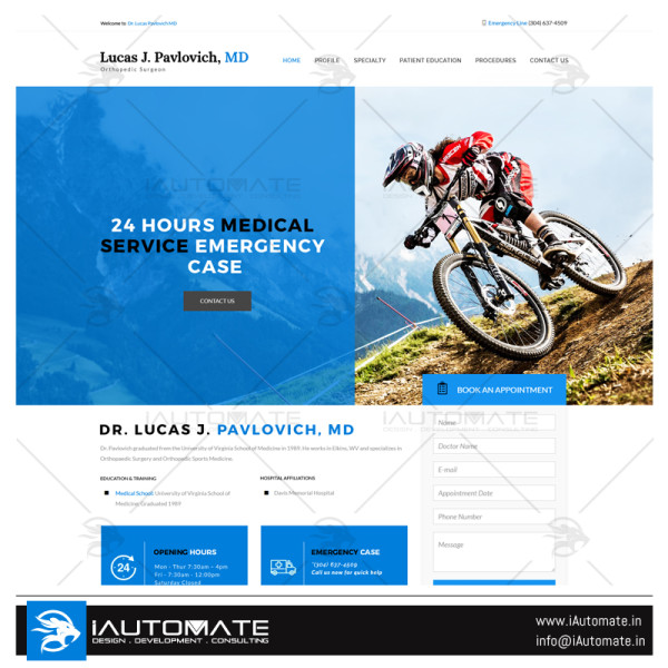 Dr. Lucas J. Pavlovich medical wordpress design
