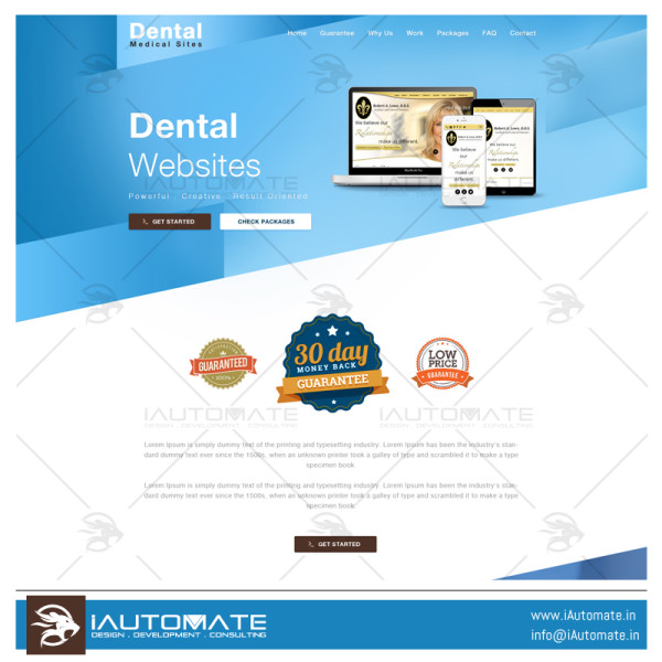 Dental Marketing Site web development and design