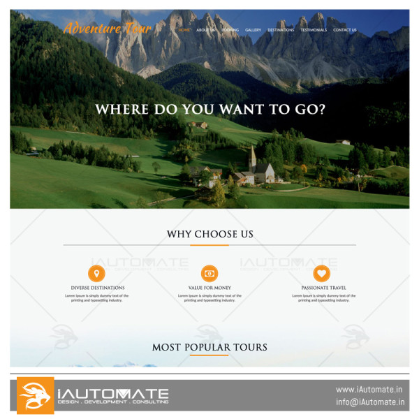 Adventure tour demo web design