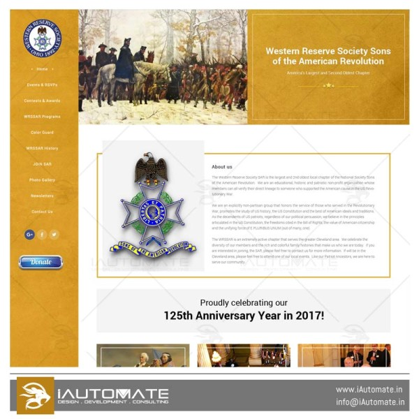 Western Reserve Society Sons of the American Revolution webdesign
